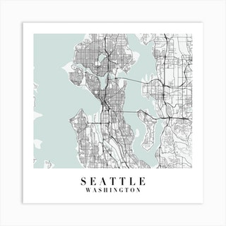 Seattle Washington Street Map Minimal Color Square Art Print