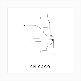 Chicago Subway White Map Square Art Print