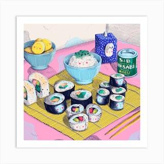 Sushi Party Square Art Print