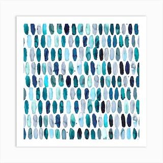 Pills Blue White Bg Square Art Print