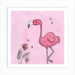 Fiona Flamingo Square Art Print
