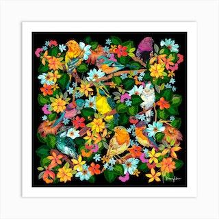 Forest Birds Foliage Square Art Print