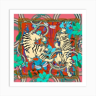 Cream Tigers Bamboo Square Art Print