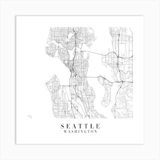 Seattle Washington Street Map Minimal Square Art Print