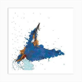 Kingfishers Catch White Square Art Print