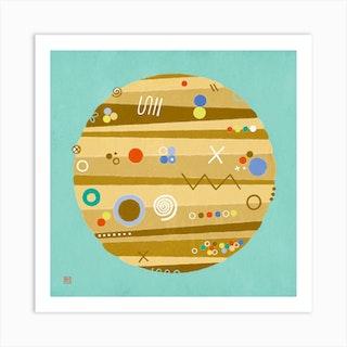 Jupiter On Vacation Meditative Mandala Art Print