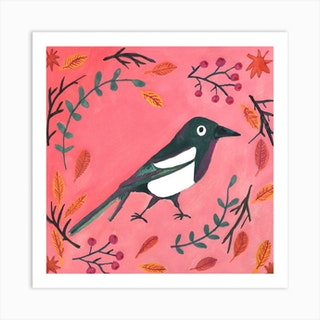 Monsieur Magpie Square Art Print