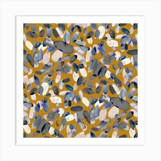 Watercolor Petal Stains Blue Mustard Square Art Print