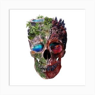 Two Face Skull Square Art Print
