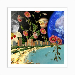 Beach With A View Collage Square Art Print