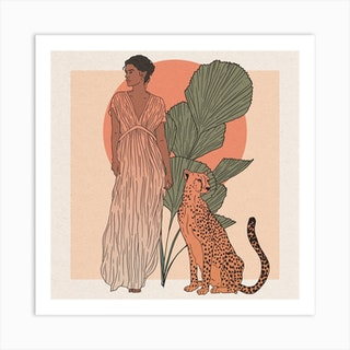 Woman And Leopard Art Print