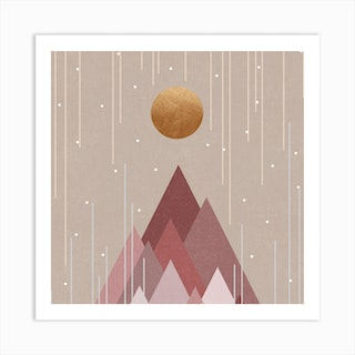 Sun And Mountains Coral Pink Square Art Print