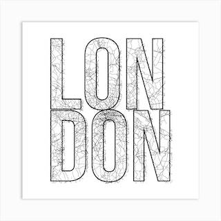 London Street Map Typography Square Art Print
