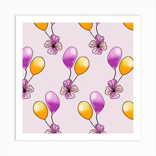 Purple And Yellow Balloons Square Art Print