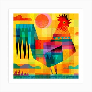 Rooster Square Art Print