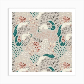 Squirrel Pattern Iii Square Art Print