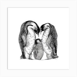 Penguins Square Art Print