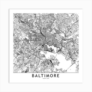 Baltimore White Map Square Art Print