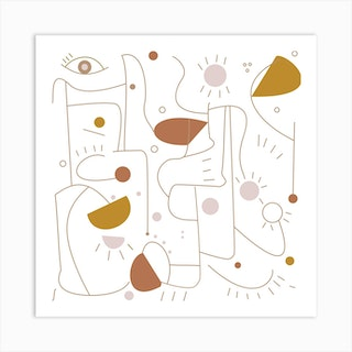 90s Geo Neutrals Square Art Print