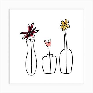 Minimalist Flowers Square Art Print