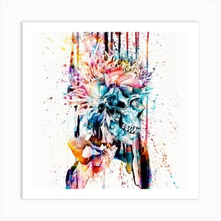 Abstract Skull 2 Square Art Print