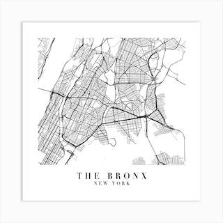 The Bronx New York Street Map Minimal Square Art Print