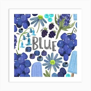 Rainbow Blue Square Art Print