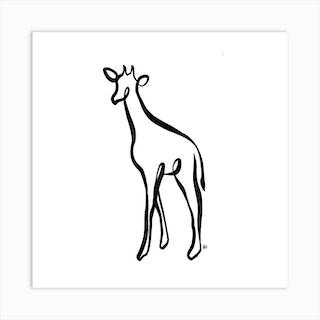 The Naked Giraffe Square Art Print