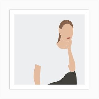 Women Portrait 2 Square Art Print