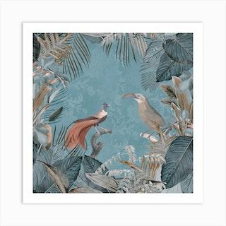 Birds Of Paradise Pastel Blue Art Print