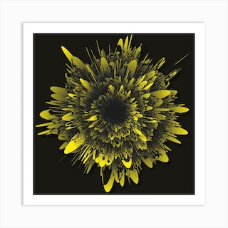 Abstract Flower Grey Yellow Square Art Print
