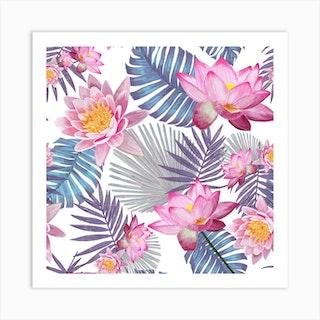 Hand Drawn Pink Lotus Flower And Botanical Leaves Pattern Square Art Print