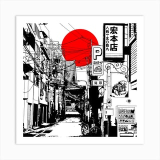 Tokyo Street Sunrise Square Art Print