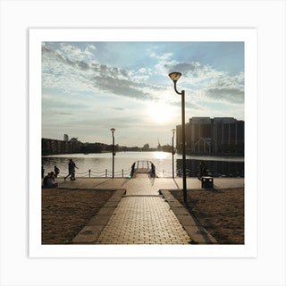 Sunset Over Dock In Canary Wharf Art Print