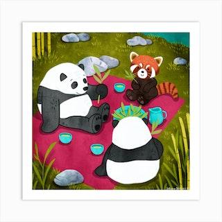 Pandas Picnic Square Art Print