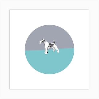 Wire Fox Terrier On Grey Blue Square Art Print