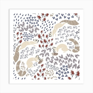 Squirrel Pattern I Square Art Print