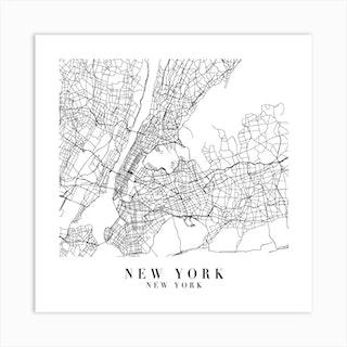 New York New York Street Map Minimal Square Art Print