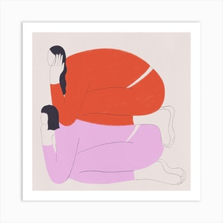 Hanging Out With Your Bff Square Art Print