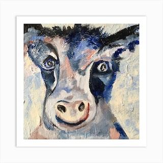 Wacky Cow Square Art Print