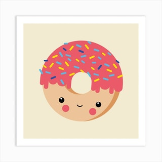 Nursery Kawaii Donut Art Print