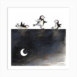 Penguins Skating Square Art Print