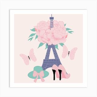 Fashion Paris Square Art Print