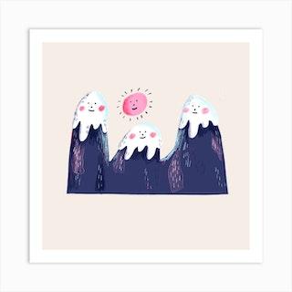 Happy Mountains  Square Art Print