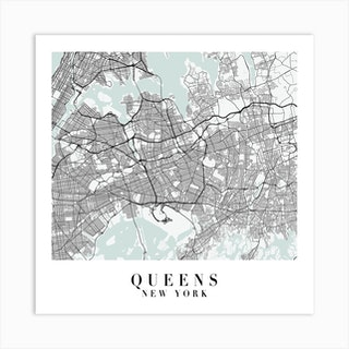 Queens New York Street Map Minimal Color Square Art Print