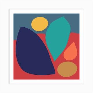 Boho Organic Leaves Square Art Print