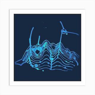 Hills With Windmills Blue Light Square Art Print