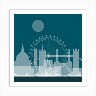 London Landmarks Blue Art Print
