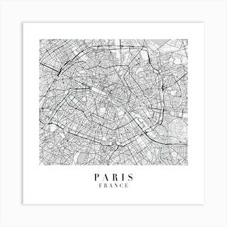 Paris France Street Map Minimal Color Square Art Print