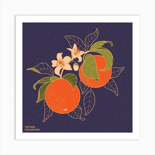 Orange Branch Square Art Print